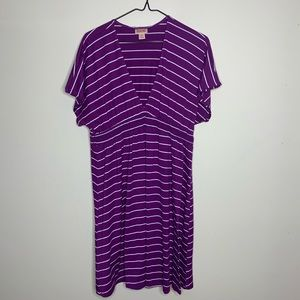 Super Comfy Purple & White Striped Summer Dress